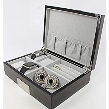 Executive High class Cufflink Case & Ring Storage Organizer Mens Jewelry Box Gift (Ebony)