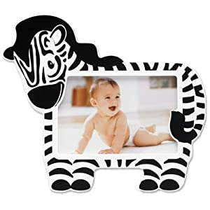 Lawrence Frames Nursery Collection Luxury Frame, Zebra, 6 by 4-Inch, White/Black