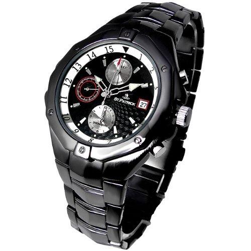 トリックマスター クロノグラフ 腕時計 ガンメタルブラックカラー スワロフスキー クォーツ式 黒 【並行輸入品】[時計]