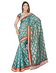 Sehgall Saree Indian Bollywood Designer Ethnic Professional Designer Material Faux Silk Banarasi Weave Rama