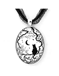 Black Cat and New Moon Silhouette Handmade Jewelry Fine Art Necklace