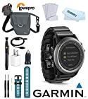 Garmin Fenix 3 Stainless Steel Sport SmartWatch (Sapphire) w/ Garmin Fenix 3 Watch Band (Blue), Lowepro Bag, Microfiber Cloth, Pen Brush Cleaning System, LCD Screen Protection, Smart Watch Active Lifestyle Golf Bluetooth Fitness Touchscreen Outdoor Training GPS Device 010-01338-20