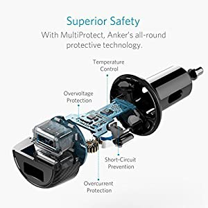 Anker 24W Car Charger 2-Port 4.8A Ultra-Compact PowerDrive 2 Elite with PowerIQ Technology for iPhone X / 8/7 / 6s / Plus, iPad Pro/Air / Mini, Galaxy Note/S Series, LG, Nexus, HTC and More (Color: Black)