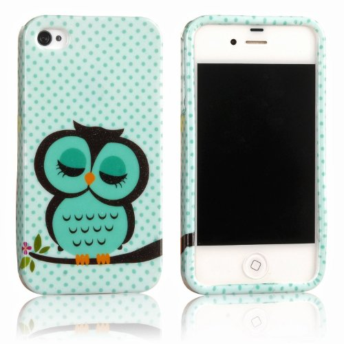 2IN1 For Apple iPhone 4 4S Soft TPU Silicone Back Case Cover Skin Shell Night Owl Polka Dot + 1x Stylus Touch Pen (Flexible color)- Green White Cute Cartoon