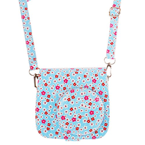 [Fujifilm Instax Mini 8 Classic Camera Case Series]-WOODMIN Floral PU Leather Protective Fuji Camera Case with Shoulder Strap for Instax Mini 8 Camera (Blue) (Floral Refrigerator Cases compare prices)