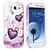 eForCity TPU Rubber Case Compatible with Samsung Galaxy S III / S3 i9300, Pink Heart