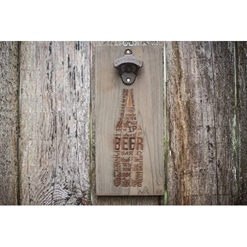 Wall mounted bottle opener rustic wood Laser Engraved Designs magnetic cap catcher
