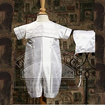 Baby Boys White Silk Christening Baptism Outfit Set 6M