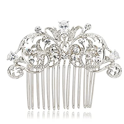 Vintage Style CZ Rhinestone Hair Comb Pins Bridal Wedding Hair Accessories Jewelry 2253R