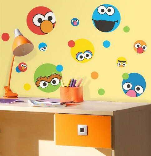 roommates rmk1698scs sesame street dots peel stick wall decals 034878105451. Black Bedroom Furniture Sets. Home Design Ideas