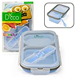 Collapsible Lunch Box- Silicone Kids Food Storage with Two Compartments In Blue By D'Eco