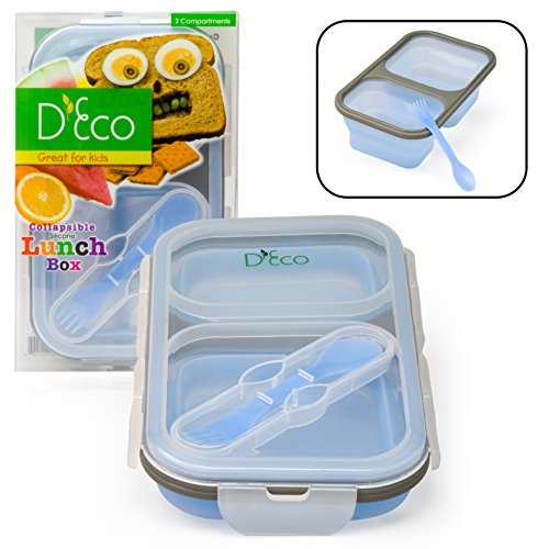 Collapsible Lunch Box Silicone Kids Food Storage with Two Compartments In Blue By DEco