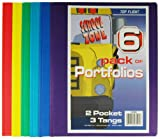 Top Flight Two Pocket Portfolio with Tangs, Assorted Colors, 6 Pack (4660250)