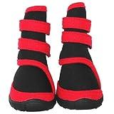 犬用ロングタイプシューズブーツ靴1袋4個入り(レッド)(Lサイズ)