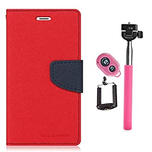 Aart Fancy Diary Card Wallet Flip Case Back Cover For Samsung G350 - (Red) +Remote Aux Wired Fashionable Selfie Stick Compatible for all Mobiles Phones By Aart Store
