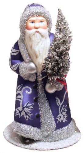 Ino Schaller Dark Blue and Silver Santa German Paper Mache Candy Container