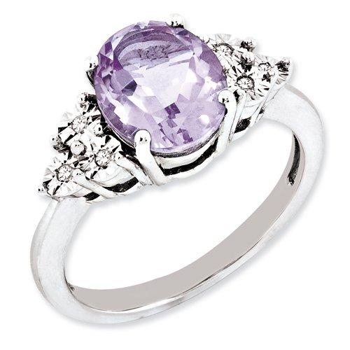 Sterling Silver Diamond & Pink Quartz Ring