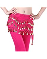 Viskey Fashion Chiffon Belly Dance Waist Chain with Golden Coins in 3-Layers,Rose Red