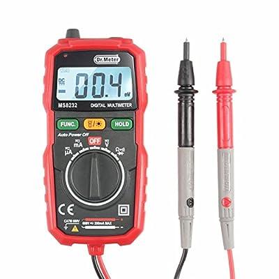 Dr.meter Backlight Mini Digital Multimeter AC/DC Voltage Tester, Current, Resistance Multi Tester