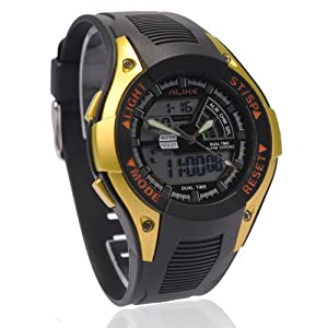 50m Water-proof Digital-analog Boys Girls Sport Digital Watch 711 with Alarm Stopwatch Chronograph (Golden)