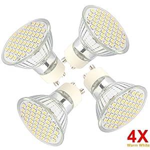 4X GU10 LED Lighting Bulbs Beautiful Quartz Glass Cup Shape Warm White 3W Spot Light Bulbs 230-250LM General Household Use by QUESTWAY