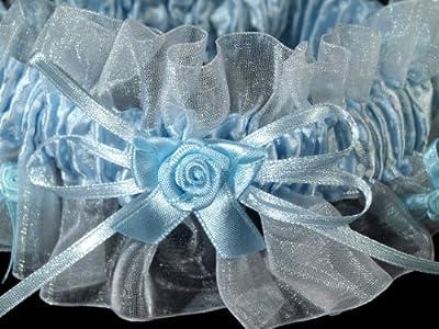 Hellblaues Strumpfband 70 mm breit mit Pünktchenmuster