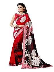 Varni Fabrics - Stylish Red Color Crepe Saree