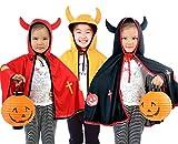 ツノが 可愛い ハロウィン 子供 悪魔 マント コスチューム 衣装 かぼちゃ ランタン セット 電池付き (黒)