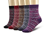 Bemaystar Nordic Wool Woman Socks Winter Socks 5-pack