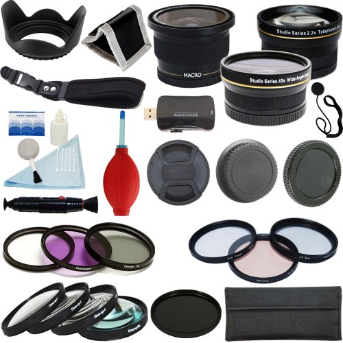 Plr Optics 52Mm Complete Essential Filter And Lens Deluxe Kit - Includes:.42X Fisheye Lens + 0.43X Wide Angle Lens + 2.2X Telephoto Lens + Filter Kit (Uv, Cpl, Nd9, Fld) + Macro Close Up Set (+1, +2, +4, +10) + Special Effects(4Xstar, Soft Focus, Warming)