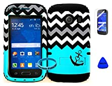 buy Wireless Fones Tm Hybrid Impact Dual Layer Cover Case For Samsung Galaxy Ace Style S765C Straight Talk, Net10 And Tracfone Blue Block Anchor Love Chevron On Black Skin (Wireless Fones Tm Wrist Band, Pry Tool & Screen Protector Included)