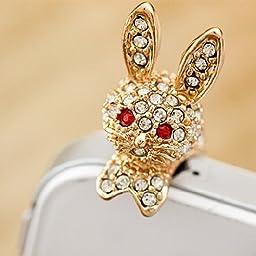 Kitty Party3.5mm Bling Earphone Jack Anti Dust Clear Rhinestone Cute Golden Lying Rabbit Style