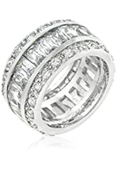 Triple Row White CZ Eternity Ring