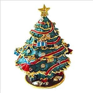 #!Cheap Christmas Tree Green Box Swarovski Crystals 24K Gold Jewelry or Trinket Box Figurine