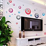 Oren Empower Multicolored Decorative Circles PVC Vinyl Large Wall Sticker (Finished Size On Wall - 192(w) X 92...