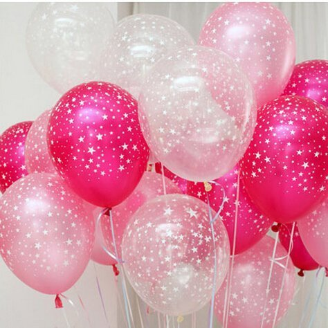 Neo LOONS 30ct Assorted Fuchsia Pink Clear Around Star Balloons