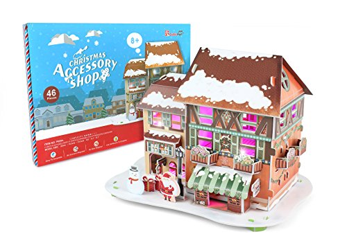 Christmas Accessory Shop,Chrismas Gift, 3D Puzzle, Lights Up And Great For Decorative Design