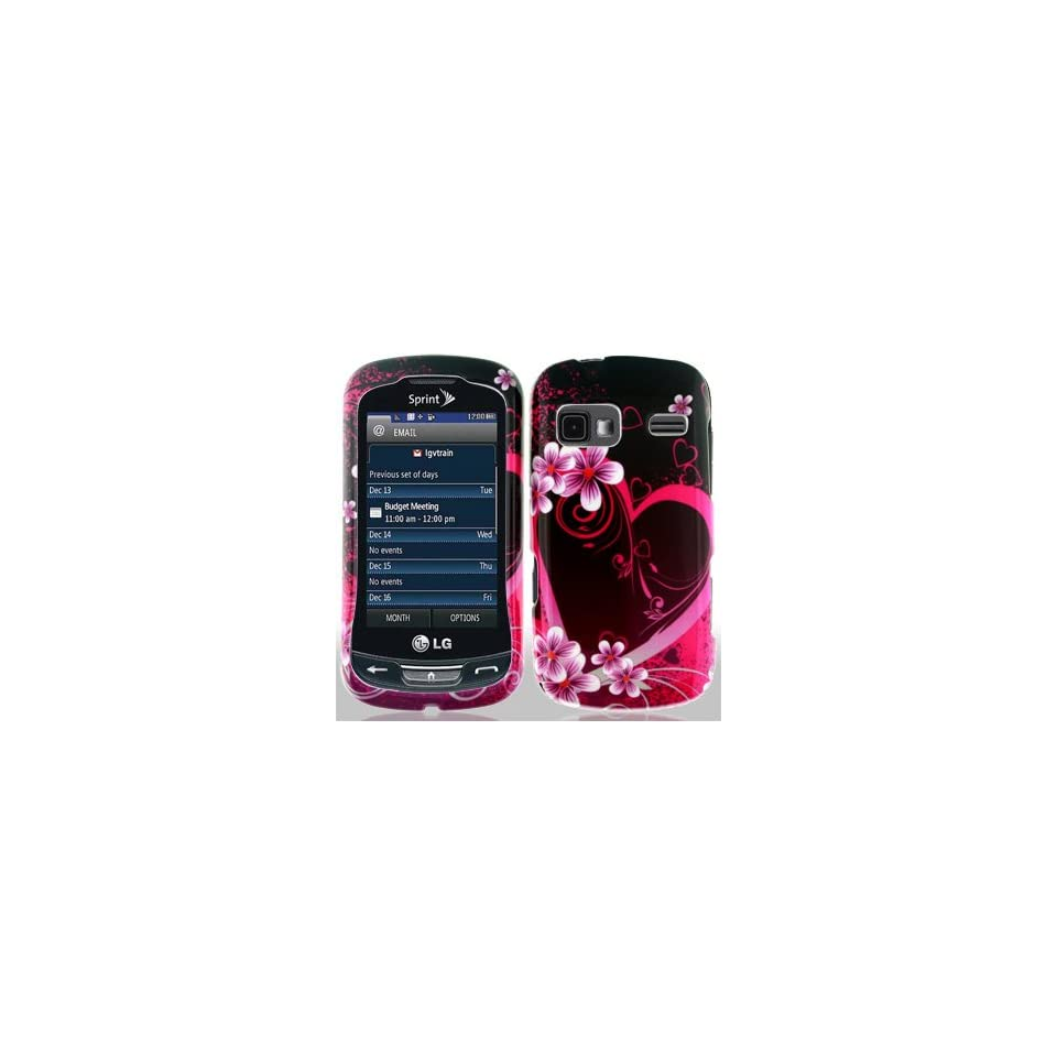 LG Rumor Reflex LN272 LN 272 Black with Hot Pink Love Hearts Flowers Design Snap On Hard Protective Cover Case Cell Phone
