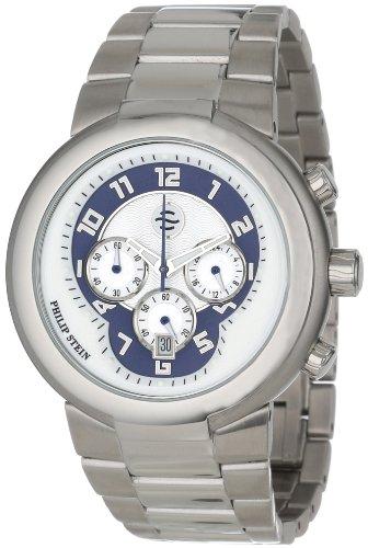 Philip Stein - 32-AN-SS - Montre Mixte - Quartz Analogique - Cadran Bleu - Bracelet Acier Argent