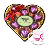 Chocholik Luxury Chocolates - Big Choco Surprise Wrapped Chocolate Box With Love Mug