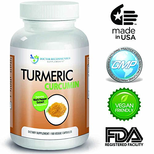 Turmeric Curcumin Supplement by Doctor Recommended - 180 Capsules - 750mg - 95% Curcuminoids-with Piperine Black Pepper Extract - Most powerful Turmeric Supplement available!