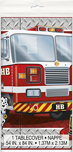 Fire Truck Birthday Plastic Tablecloth, 84