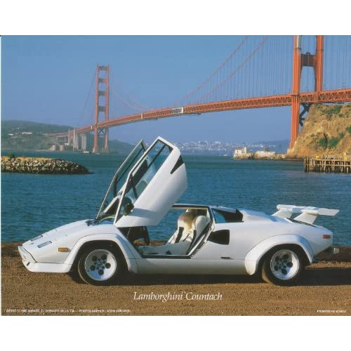 Lamborghini Countach Car Along the Golden Gate Bridge Art Print Poster