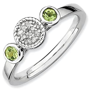 Genuine IceCarats Designer Jewelry Gift Size 7.00 Sterling Silver Stackable Expressions Db Round Peridot & Dia. Ring In Sterling Silver.