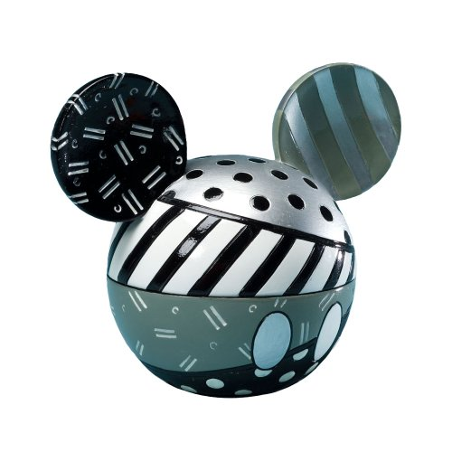 "Disney by Britto from Enesco Mickey Head Black and White Covered Box 4"". - 1"