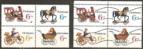 USA Stamps: Christmas 1970 Toys. Regular & Pre-cancelled Se-tenant Blocks of 4