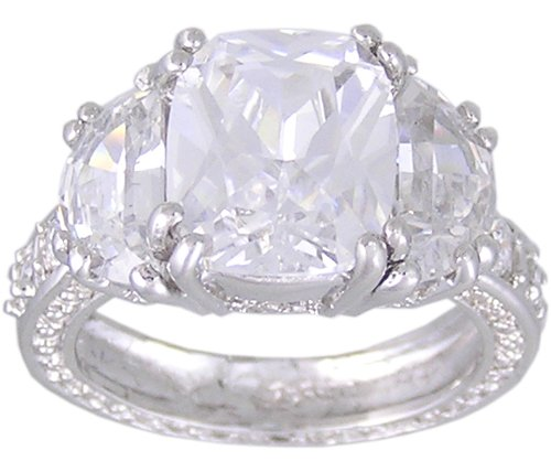 Cubic Zirconia .925 Sterling Silver Rhodium Plated Promise Ring, Size 5