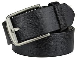 Bullko Men\'s Pin Buckle 7011 Genuine Leather Belt Black 32-34inch