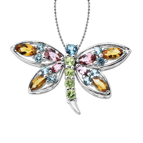 XPY Sterling Silver Multi-Gemstone Dragonfly