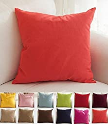 TangDepot Handmade Solid Cotton Throw Pillow Covers, 18 x 18-Inch, Coral